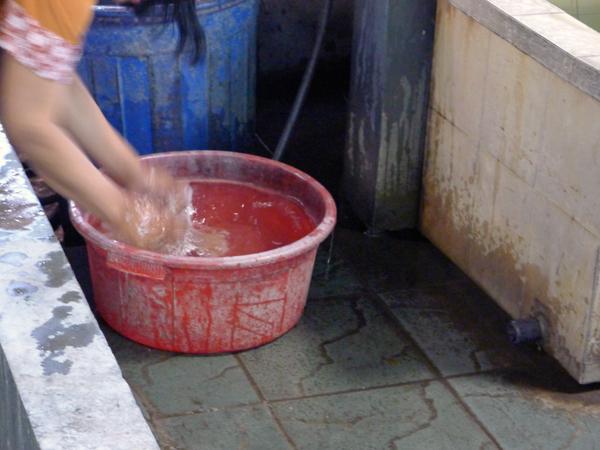 ※染めをする前に、よく洗浄するのと、色ムラを防ぐのにぬらすのでしょう。