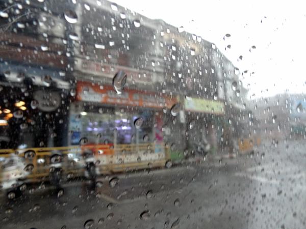 ※ピントをオートにしたままでは、手前の水滴に合ってしまう。それぐらい雨の密度が濃い。