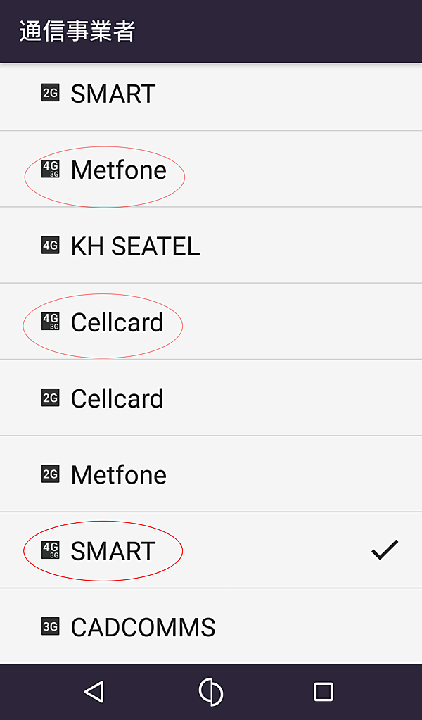 Metfone、Cellcard、SMART