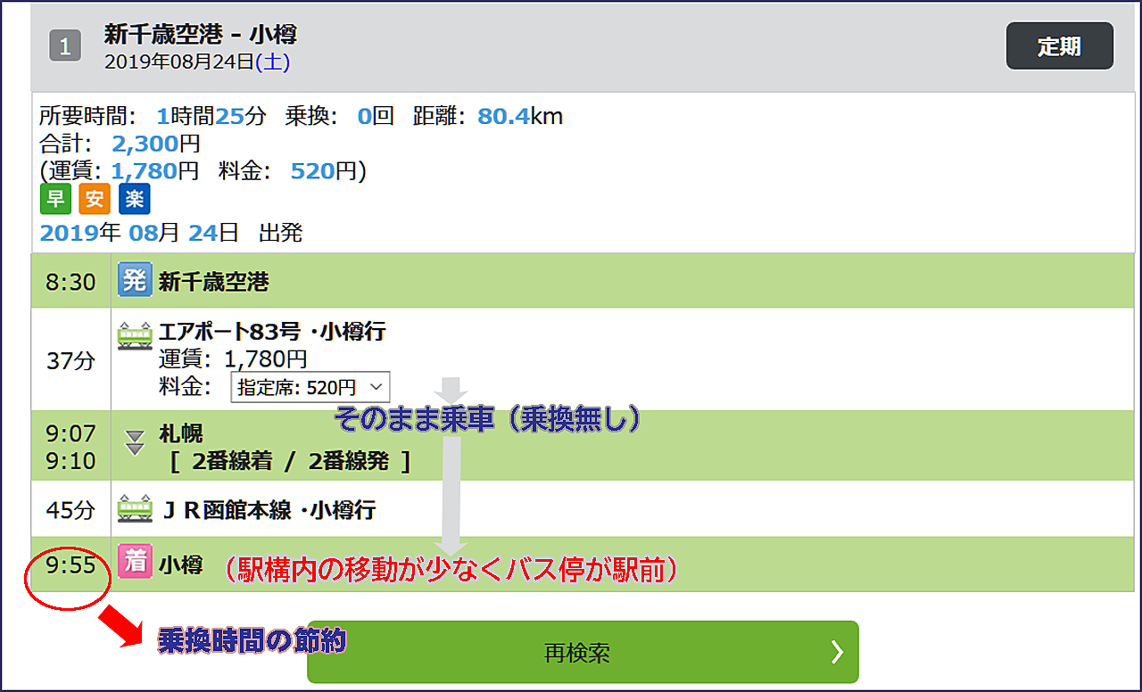 小樽駅で乗換を選ぶ