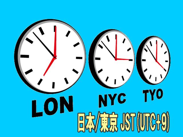 日本/東京 JST(UTC+9)です。海外旅行の時は、渡航先との時差を知ること