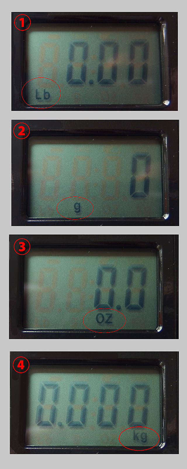 Lb(ポンド)-g(グラム)-OZ(オンス)-Kg(キログラム)と計測単位があります。