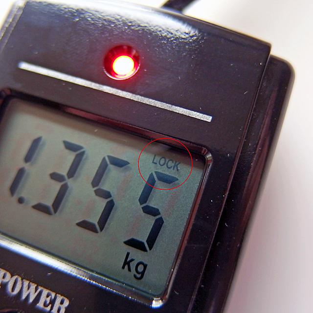 計測が終了すると、中央のランプが点灯し、液晶内では「LOCK」が表示されます。
