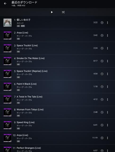 ダウンロードした曲はプレイリスト化も可能。