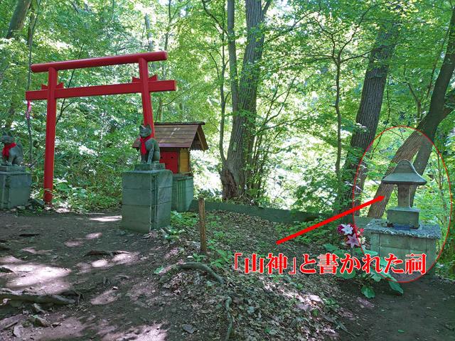 山頂にあった「山神」が八十八ヶ所入口に下山する手前にあります。