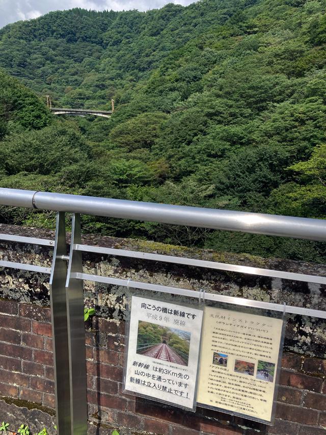 廃線路「信越本線」新線が見える。