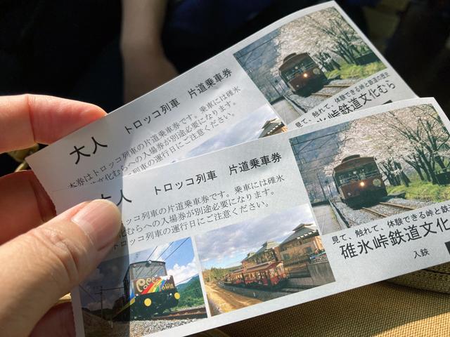 片道乗車券を直前に購入。碓氷峠鉄道文化むらの入場券必須です。